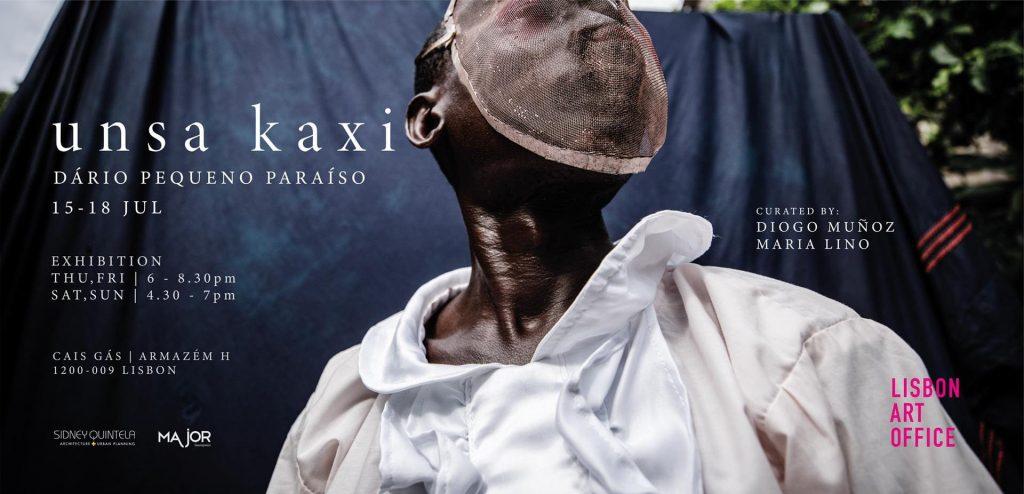 """Cartaz da Exposição """"Unsa Kaxi"""" de Dário Pequeno Paraíso"""